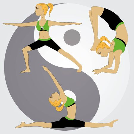ying and yang: Girl doing yoga poses on Ying yang symbol background, vector