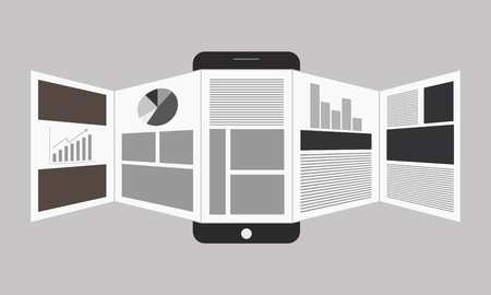web surfing: Vector illustration of online reading news or web surfing using smartphone
