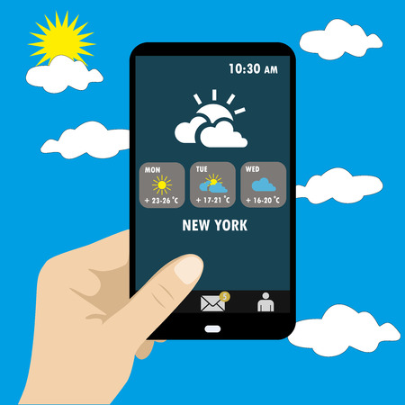 smart phone hand: Vector illustration of smart phone in hand . Weather reports via smart phone.