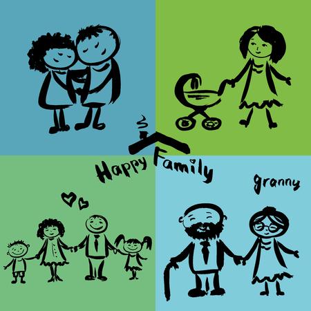 happy family: Happy family, hand drawing vector