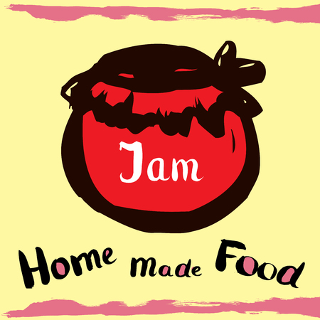 banks with jam, with the inscription homemade production, hand drawing design elements for your banner, ads or web
