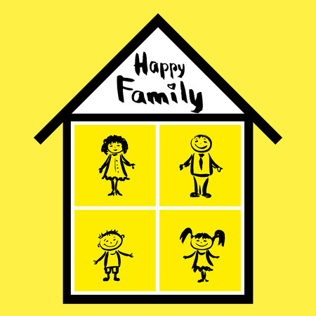 happy family home: Happy family and home, hand drawn vector Illustration