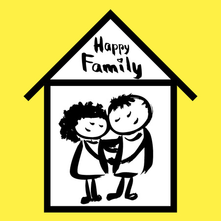 happy family at home: Happy family and home, hand drawn vector Illustration
