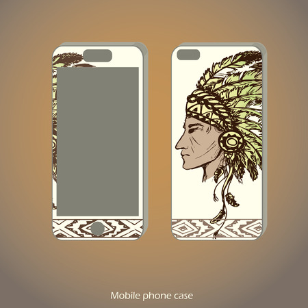 valiant: Mobile phone cover back and screen with Native American Head, hand drawn, vector illustration