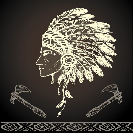valiant: North American Indian chief with tomahawk, hand drawn vector