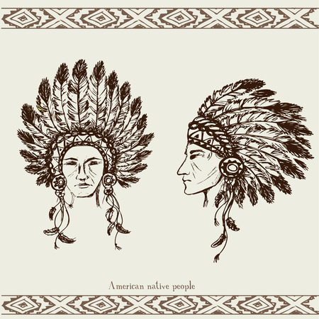 black american: Native American Head, hand drawn, vector illustration Illustration