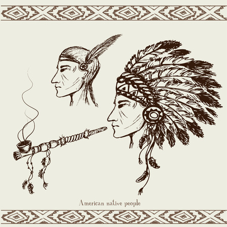 valiant: North American Indian with peace pipe, hand drawn vector