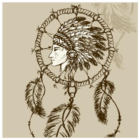 etnia: Los indios norteamericanos con Dreamcatcher, vector dibujado a mano