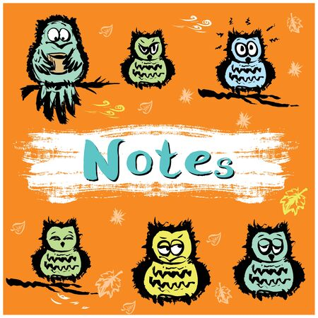 notebook cover: Notebook cover design various cute owls, vector