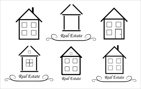 abode: Set Real Estate Vector icon, black and white