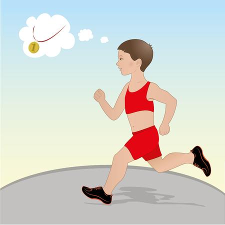 Vector Illustration Boy running and dreams of gold medal
