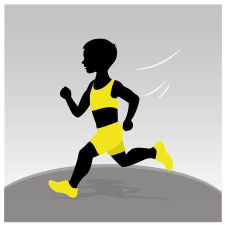 Vector Illustration , Silhouettes of boys running
