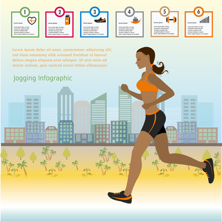 health icons: The girl runs on the background of of the city, infographics, vector