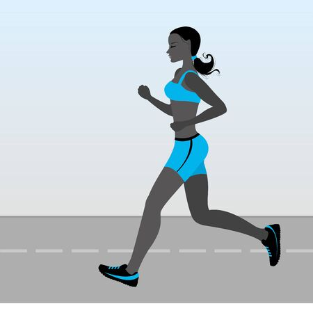 conscious: Illustration of a cartoon girl jogging, weight loss concept, cardio training, health conscious concept running woman.