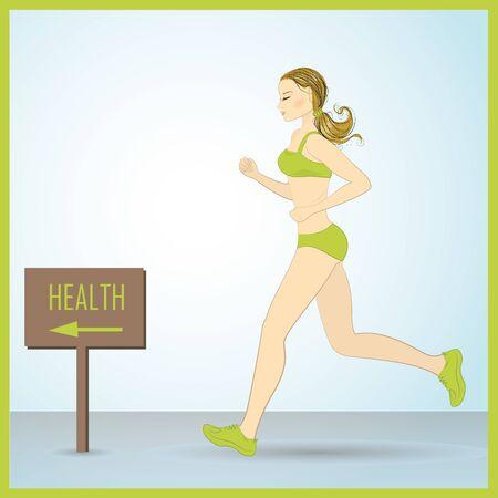 body slim: Sport Woman Run Fitness Girl Jogging Vector Illustration