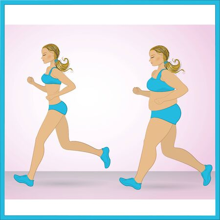 conscious: Illustration of a cartoon fat girl jogging, weight loss concept, cardio training, health conscious concept running woman.