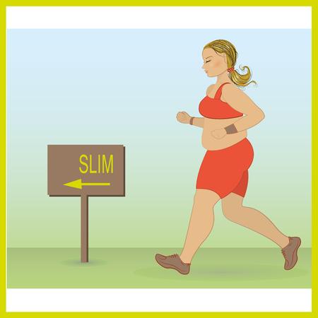 conscious: cartoon fat girl jogging, weight loss concept, cardio training, health conscious concept running woman. Vector