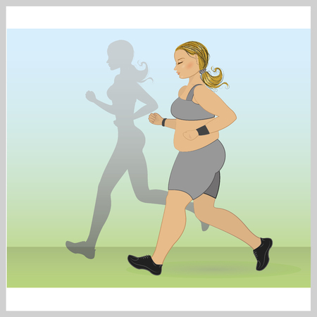 one woman: fat woman runs, and thin shadow behind her, vector