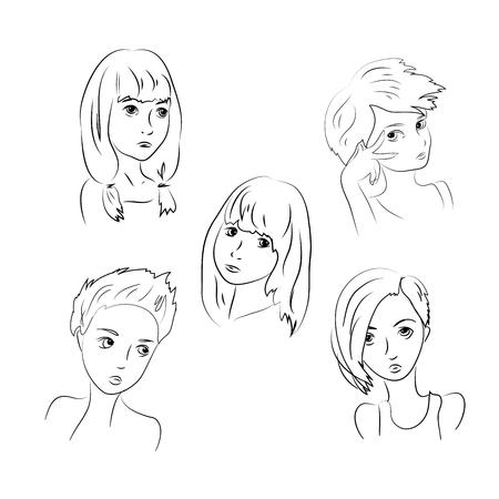 sad lonely girl: Set Sad Girls, Young Teenager, Children Depression . Isolated on White Background