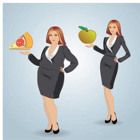 Dieet. Keuze van de meisjes: het zijn vet of slank. Vector.