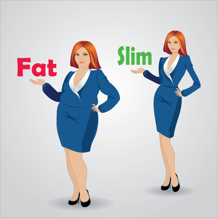 thick: Thick and thin girl, Vector illustration