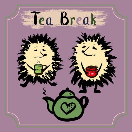 hand jam: Tea break. Two hedgehog with a mug of tea, tea and jam. Hand drawn vector Illustration