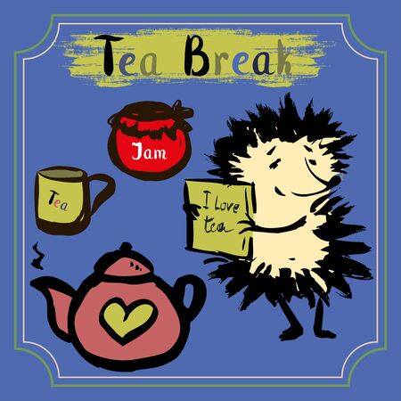 hand jam: Tea break. Hedgehog with a mug of tea, tea and jam. Hand Drawn vector