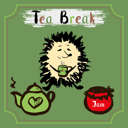 hand jam: Tea break. Hedgehog with a mug of tea, tea and jam. Hand Drawn vector