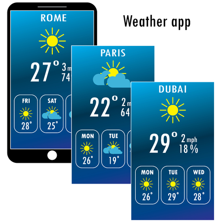 Modern smartphone with weather app on the screen. Flat design template for mobile apps, Vector illustration. Illustration
