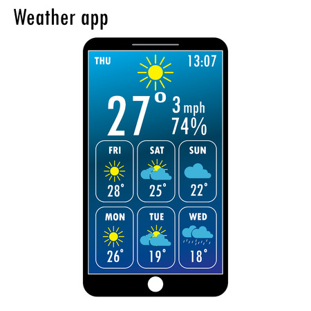 scrollbar: Modern smartphone with weather app on the screen. Flat design template for mobile apps, Vector illustration