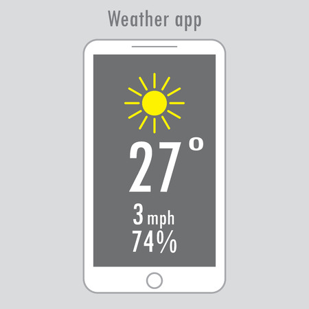 Modern white smartphone with weather app on the screen. Flat design template for mobile apps, Vector illustration.