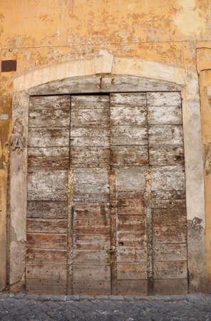 italian architecture: Rome, Italy. Old door, Italian architecture detail. Stock Photo