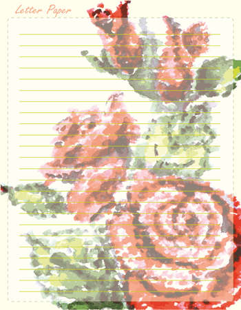 spiral binding: Paper page with hand drawn rose, vector illustration.