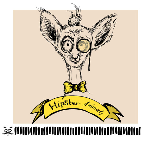 lemur: Hand Drawn Fashion Portrait of lemur Hipster isolated on background