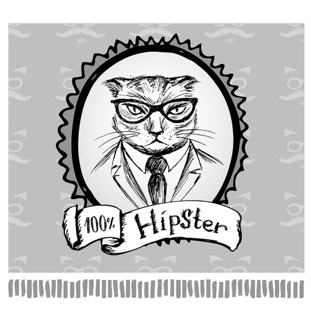 Hipster cat in frame, hand drawing, vector illustration Illustration