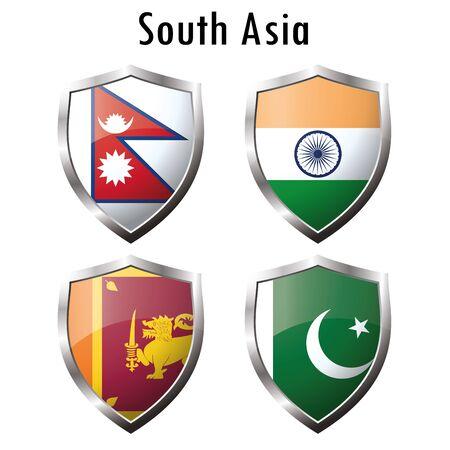 sri: Set flag icon.India, Pakistan, Sri Lanka, Nepal. Vector illustration