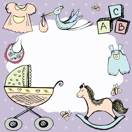 horse care: baby announcement card or baby frame.hand drawn  vector illustration
