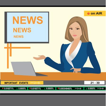 newsreader: news anchor woman header TV, vector illustration
