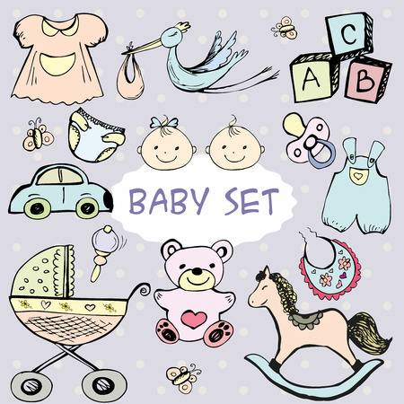 horse care: Newborn baby set with cute icons. Vector hand drawn collection
