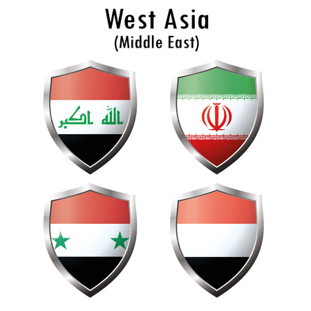 southwestern asia: Set flag icon.Iraq, Iran, Syria, Yemen. Vector illustration
