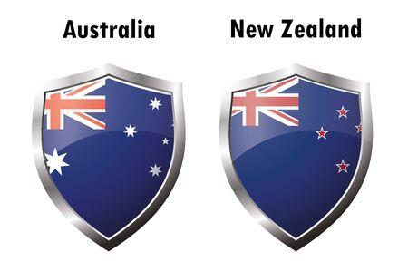 new zealand flag: Australia and New Zealand flag icon,vector illustration