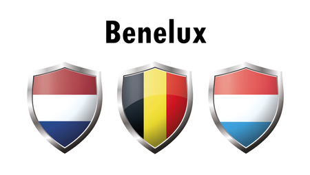A set of Benelux countries flag  icon. Netherlands, Luxembourg, Belgium. Vector Иллюстрация