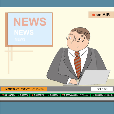newsreader: news anchor men headline tv, vector illustration