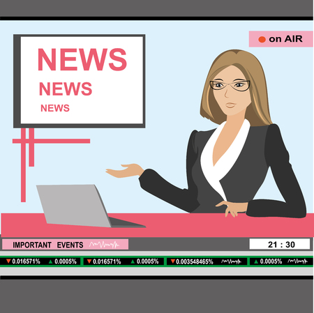 anchorman: news anchor woman header TV, vector illustration