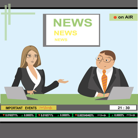 anchorman: news anchor man and woman header TV, vector illustration Illustration