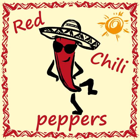chili pepper: Hand drawn red chili pepper  with sombrero.vector illustration