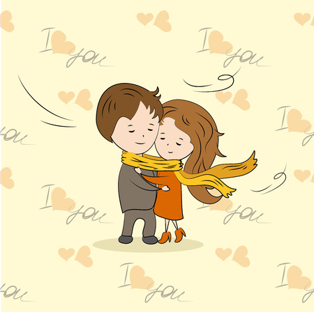 tied: couple in love tied a large scarf, vector illustration