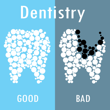 good and bad: Two teeth -good and bad,dentistry concept, background, vector illustration