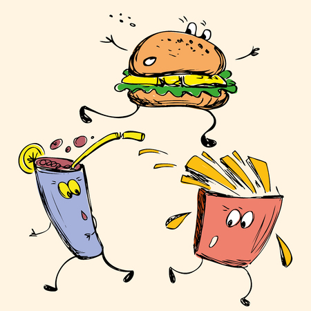 sloppy: vector hand drawn sketch illustration - fast food: french fries, soda, burger