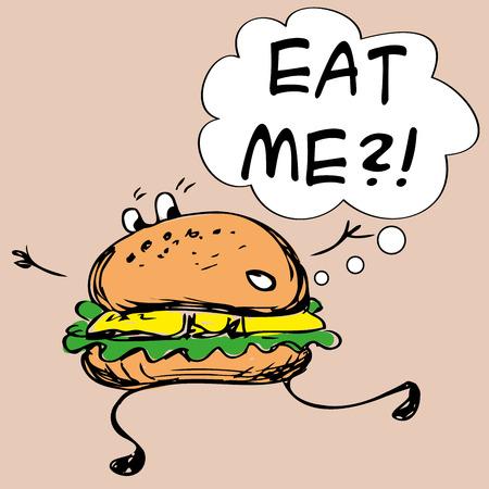 quick drawing: Eat me.Hamburger, hand drawing, vector illustration Illustration